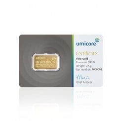 2,5g Umicore Goldbarren Mini