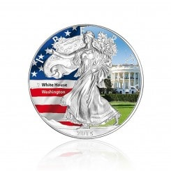 1 Unze Silber American Eagle 2015 (coloriert | White House) Mini