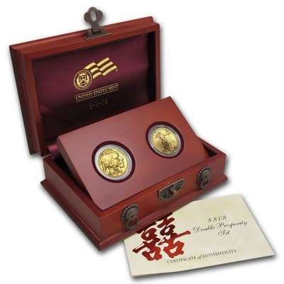 2-Coin Gold Double Prosperity Set (Holzbox & COA)
