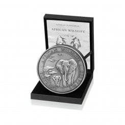 1 kg Silber Somalia Elefant 2015 (Antique Finish | Auflage: 200) Mini