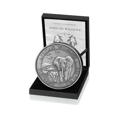 1 kg Silber Somalia Elefant 2015 (Antique Finish | Auflage: 200)