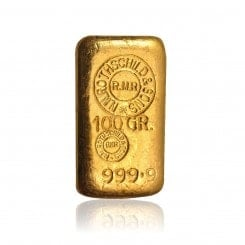100 g Goldbarren Rothschild (mit Gegenstempel) Mini