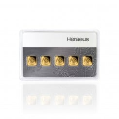 5 x 1 g Heraeus Multicard Goldbarren Mini